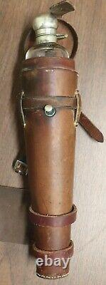 09/21. Antique Riding Hand Blown Glass Saddle Flask withLeather Case/Holster