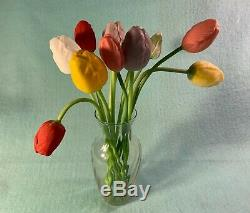 13 Long Stemmed German Hand Blown Glass Tulips of Various Colors