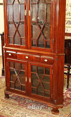1890s Era Solid Mahogany Chippendale Corner Cabinet Cupboard Hand Blown Glass