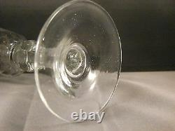 18th c c1780 Georgian Blown Bohemian Wine Glass With Engraved Bowl And Gilt Rim