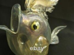 1934 Ercole Barovier Opalescent Fish Gold Leaves Cataloged Ferro Toso Antique