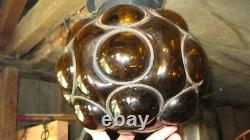 1960s GLASS BLOWN SPANISH AMBER HAND CRAFTED COUNTER CULTURE SWAG LAMP