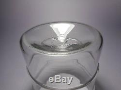 19th C. Free-Blown Glass Apothecary Applied Ring Storage Jar & Lid, Kick Up Base