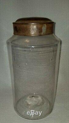 19th Century Pontiled Blown Glass Apothecary Storage Jar 9-1/4 high with Tin Lid