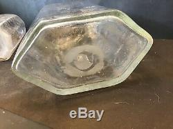 2 Antique 18th Century Clear Blown Cut Glass Decanter Bottles Apothecary