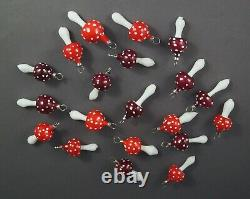 20 VINTAGE BLOWN GLASS MUSHROOMS / Fly Agaric (# 12613)