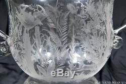 2H 1800s New England Glass Co Blown Bowl withApplied Handles Extensively Engraved