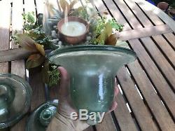 3 Vintage French Glass Cloches or Dome Hand Blown Garden Patio Bell Jar NICE
