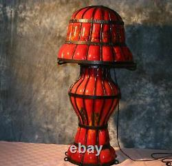 38tall Signed Art Deco Style Blown Glass Floor Lamp Vintage