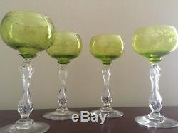 4 Antique St Louis Crystal Micado Etched Wine Glasses Green & Clear France