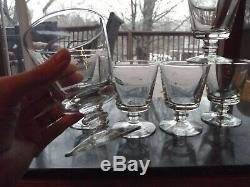 (6) Bucket Bowl Goblets RUMMER GLASS Blown bowl molded KNOP water wine antique