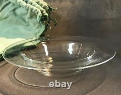 6 Steuben Hand Blown Clear Glass Soup / Cereal Bowl Set in Original Cloth Bags