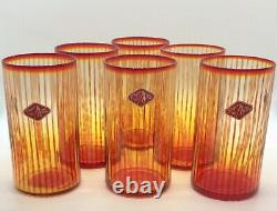6 Vintage MCM Bryce Hand Blown Amberina Flame Striped Tumbler Water Glass RARE