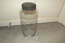 ANTIQUE 12 BLOWN GLASS STORAGE / APOTHECARY JAR DOME TIN LID with PONTIL-Excel
