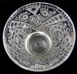 ANTIQUE 18TH CENTURY GERMAN BOHEMIAN ENGRAVED BLOWN FLINT BEAKER VASE b