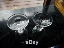 ANTIQUE GEORGIAN WINE Goblets RUMMERs GLASS BLOWN BOWL with molded KNOP STEM 1820s