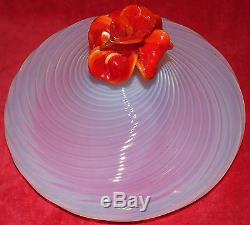 ANTIQUE HUGE VENETIAN MURANO BLOWN ART GLASS OPALESCENT SWIRL BOWL With ROSE LID