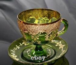 ANTIQUE MOSER GREEN 19th C. GILT ENAMELED Tea Cup and Saucer