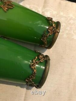 ANTIQUE PAIR OF HAND BLOWN OPALINE GREEN GLASS AND BRONZE FLOWER VASES-308e