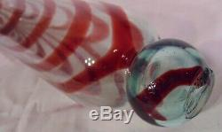 ANTIQUE VICTORIAN NAILSEA BLOWN GLASS ROLLING PIN PINK Cranberry Red & WHITE