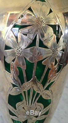 Alvin, Silver Overlay Vase on hand blown. Emerald Green Glass, 1890's, 14 high