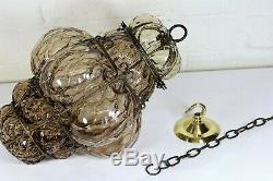 An Original Antique Caged Blown Glass Ceiling Light Pendant early 20th Century
