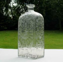 Antique 18th C. Dutch Hand Blown & Engraved Glass Box Decanter Bottle Stags 10