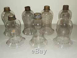 Antique 19th C. Set 7 Hand Blown Etched Fluted Glass Lamp Candle Chimney Shades