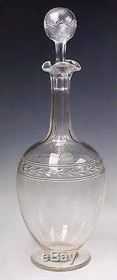 Antique 19th Century Blown and Cut Ground Smooth Pontil Set of Two Decanters
