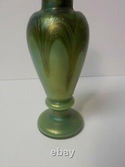 Antique Art Glass 7.5 Iridescent Cabinet Vase, Pulled Feather, Bronze Collar