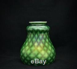 Antique Art Nouveau Glass Shade Floriform Steuben Green Aurene Windowpane Lights