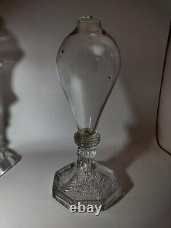 Antique Blown Glass Whale Oil Lamp with EAPG Sandwich Glass Foot