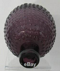 Antique Blown Three Mold Amethyst Glass Fire Extinguisher or Poison Bottle