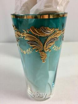 Antique Bohemia Moser Glass Gold Gilt Tumbler, Clear To Blue, Hand Blown Painted
