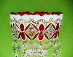 Antique Bohemian Cut To Cranberry cased & Enameled Glass Lusters, 19th c 10 1/4