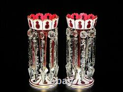 Antique Bohemian cased & enameled cranberry glass lusters, 19th c, 11 3/4 H