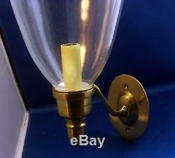 Antique Brass Wall Sconce Oval Shield Back Hand Blown Glass Shade Hurricane