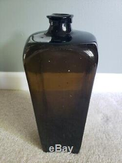 Antique Case Gin Hand Blown Bottle Early 1800s Glossy Black Glass- MINT