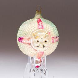 Antique Cat in a Window Double-Sided Blown Glass Ornament Germany Pink B