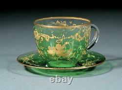 Antique Cup and Saucer, Gilt Decorated Green Glass, Charming Set