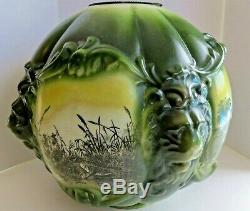 Antique Edwardian Gone with The Wind Glass Blown Lion Head Oil Lamp Globe