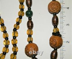 Antique Ethnic HEDIAO (7 Hand Carved Nuts) & BLOWN GLASS BEADS NECKLACE Chinese