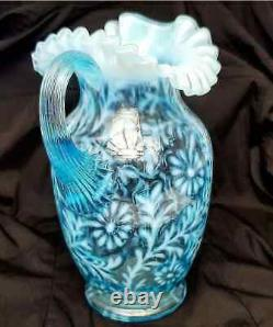 Antique FENTON / WRIGHT Daisy & Fern Large PITCHER Blue OPALESCENT GLASS