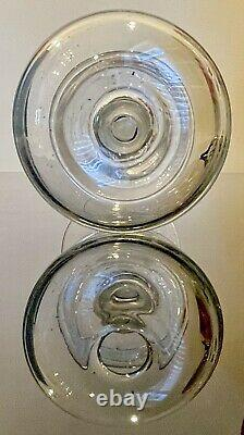 Antique Free Blown Clear Glass Lace Makers Whale Oil Lamp Early 1800s
