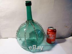 Antique Free Blown Teal Green Glass Decanter Wine Bottle & Clear Applied Ribs
