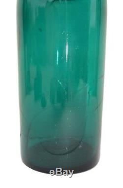 Antique French Hand Blown Glass Jar, Blue Green Mouth Blown Glass Box, Antique