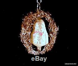 Antique German Blown Glass Two Faced Santa Christmas Ornament w Tinsel & Wire