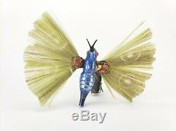 Antique German Blown Glass and Spun Glass Butterfly Christmas Ornament ca1910