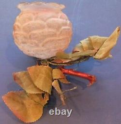 Antique German Hand Blown Glass Pink Open Rose Christmas Tree Ornament