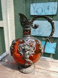 Antique German Secession Ruby Blown Glass Wine Ewer Pewter Figural Angel